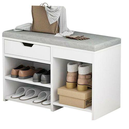 Puff Organizador De Zapatos Madera Blanco 60CM
