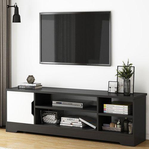 Mueble Rack Tv Madera 1 Puerta Con Estantes sw019